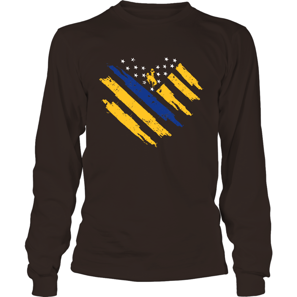 Wyoming Cowboys - Thin Blue Line Heart Front picture