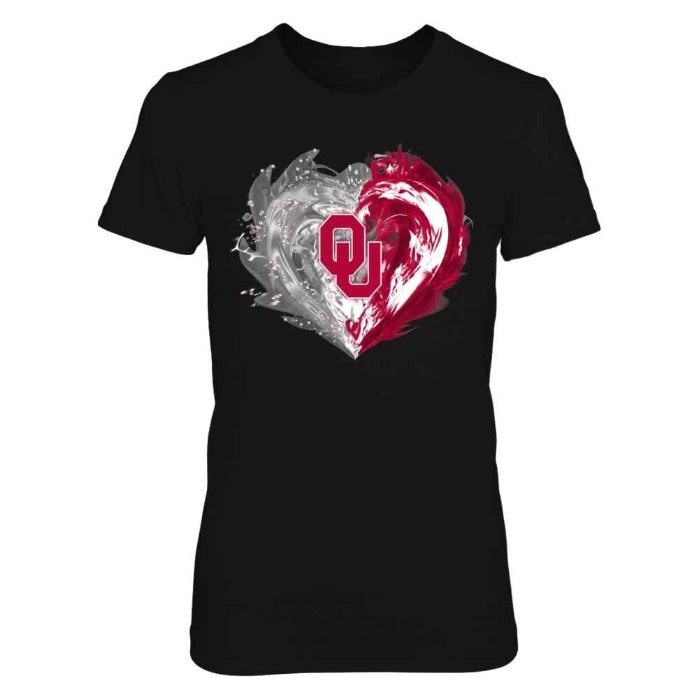 Oklahoma Sooners - Fire & Water Heart Front picture