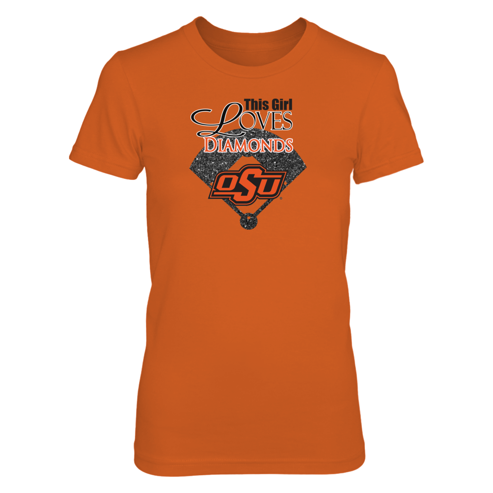 Oklahoma State Baseball Clothing- This GIrl Loves Diamonds Front picture