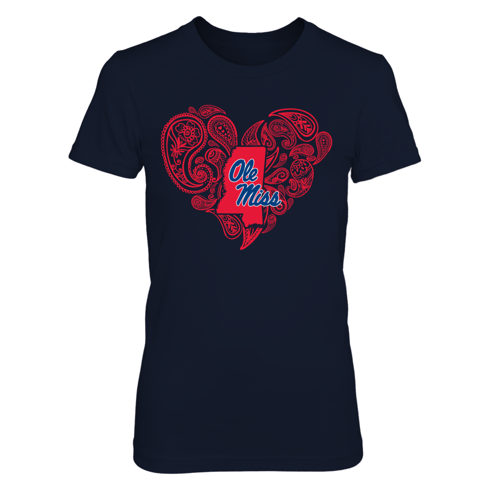 Ole Miss Rebels - Paisley Heart State Map Front picture
