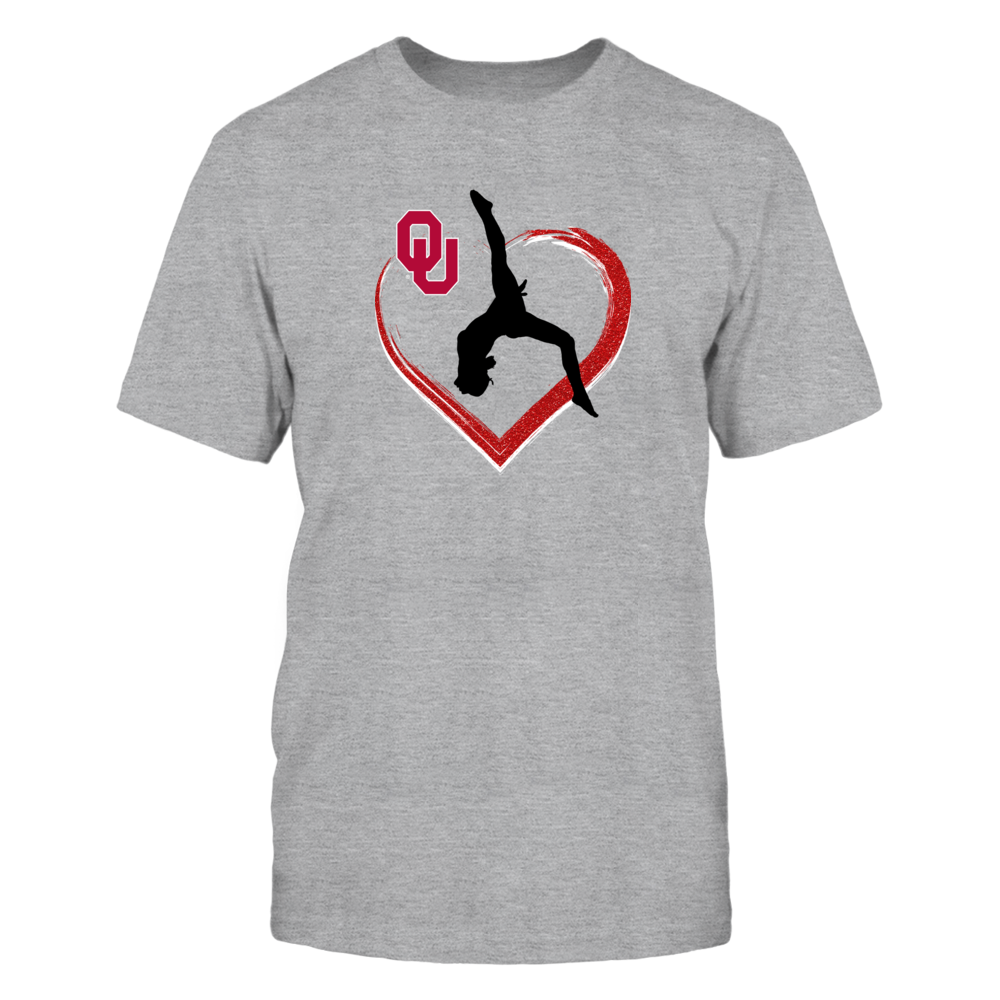 Oklahoma Sooner Gymnastics Apparel - Red Glitter Heart Front picture