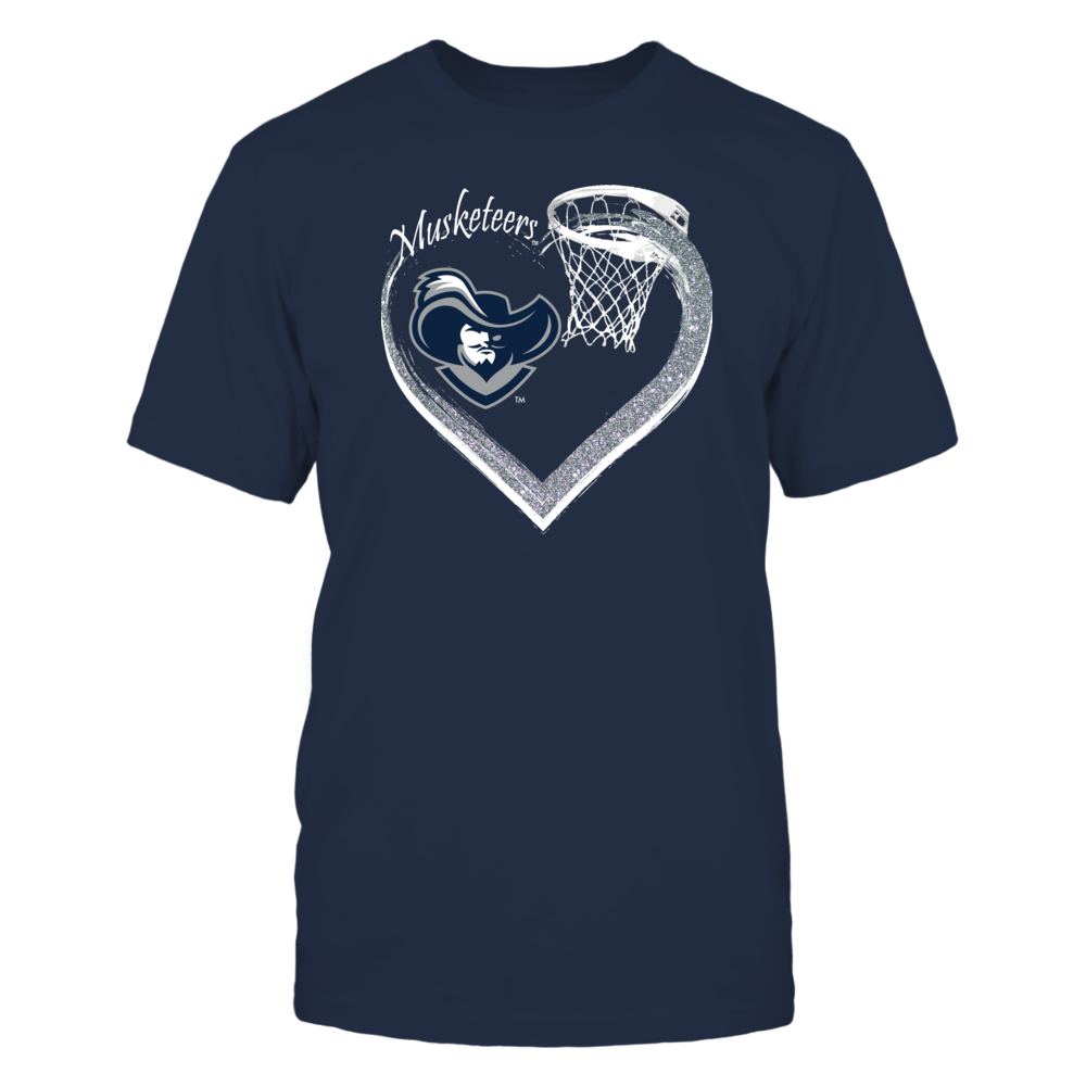 Xavier Mens Basketball Apparel - Love the Musketeers Glitter Heart Front picture