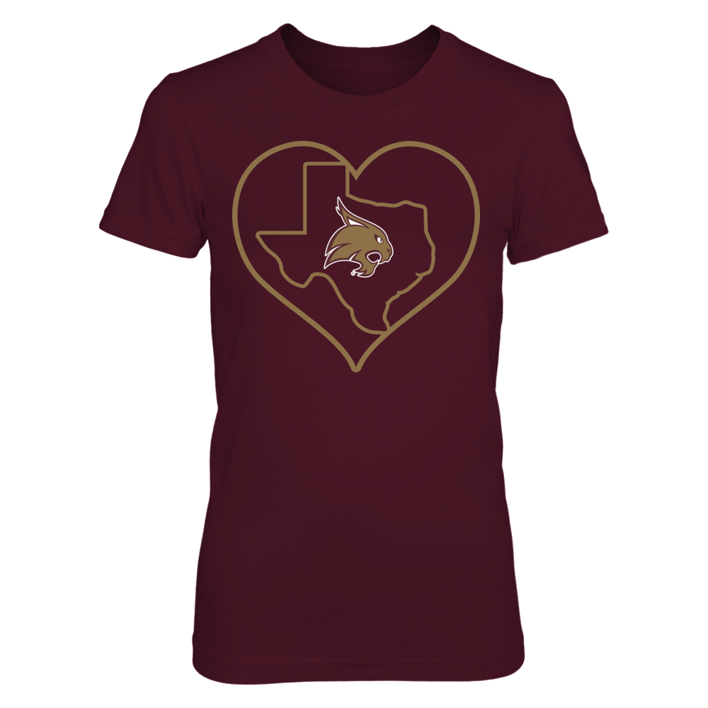 Texas State Bobcats - Heart And State Outline Front picture