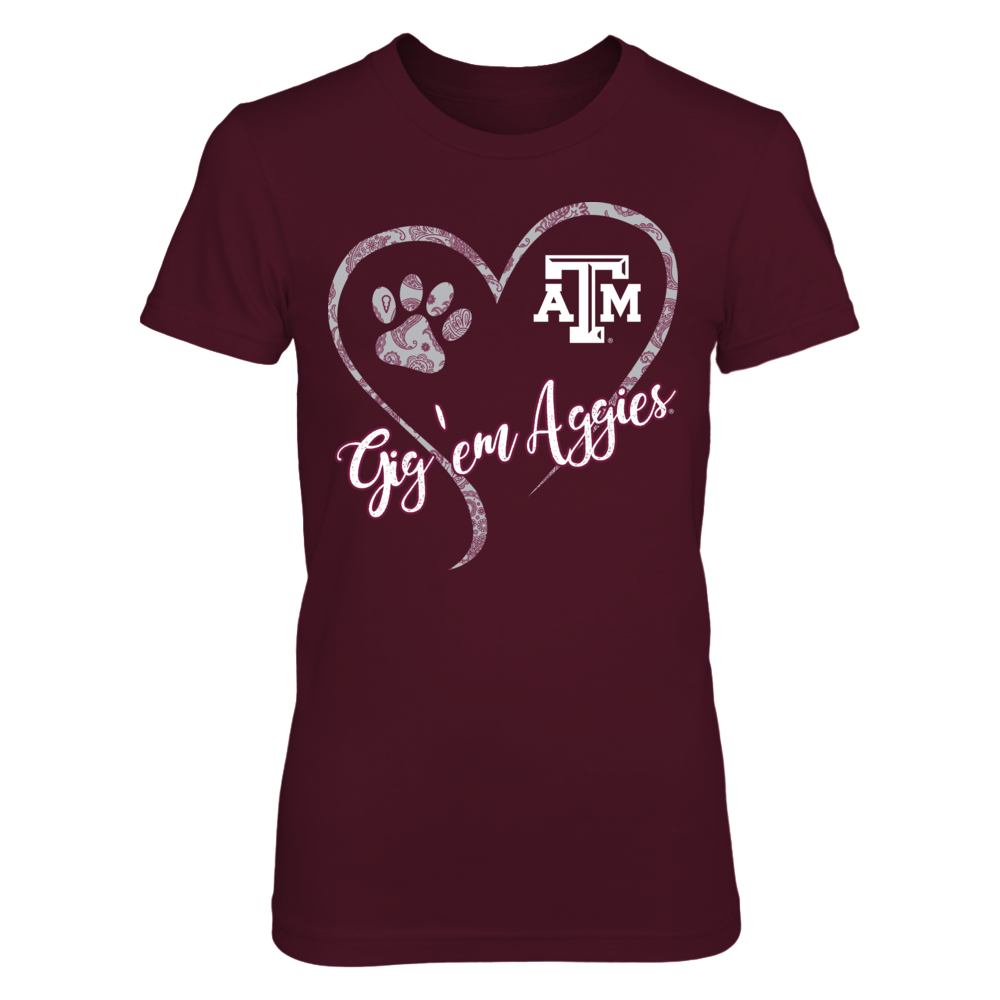 Texas A&M Aggies - Paw Heart Slogan Front picture