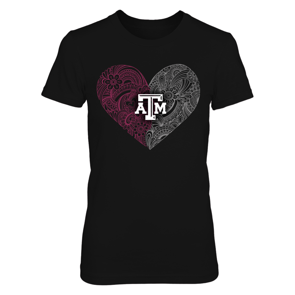Texas A&M Aggies - Lace Heart Team Colors Front picture