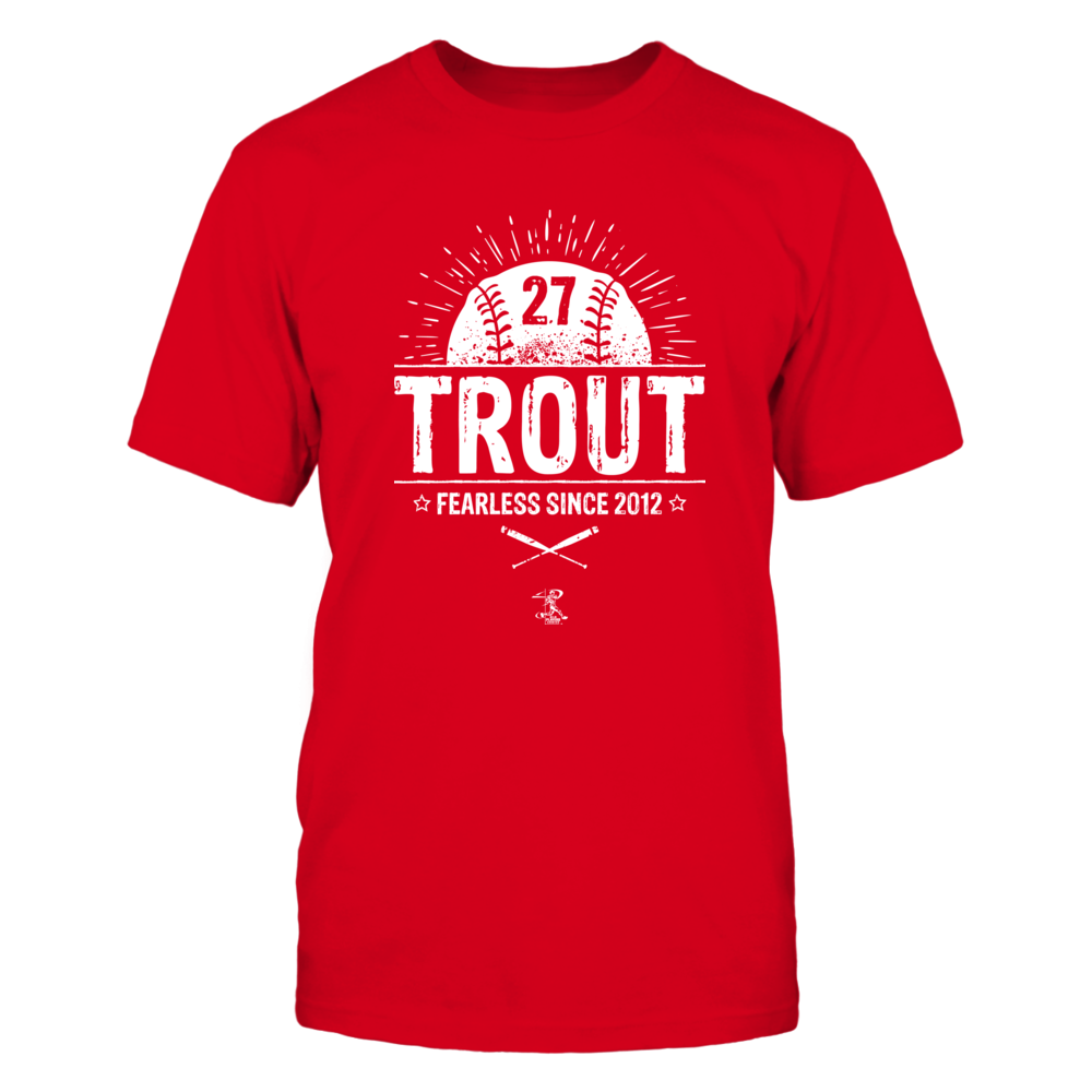 "Mike Trout quote, ""FEARLESS SINCE 2012"", baseball t-shirt jersey. Front picture"