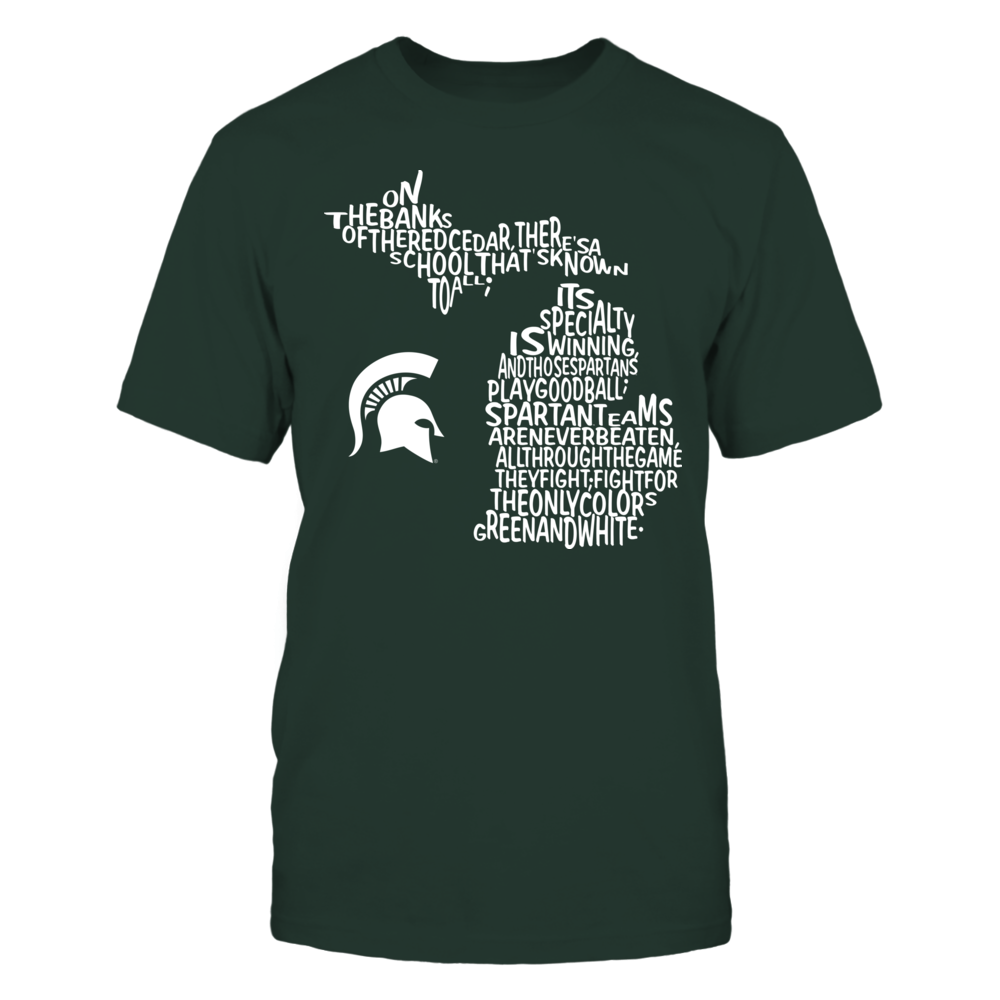 Michigan State Spartans - Fight song Inside State Map - IF-IC78-DS75 Front picture