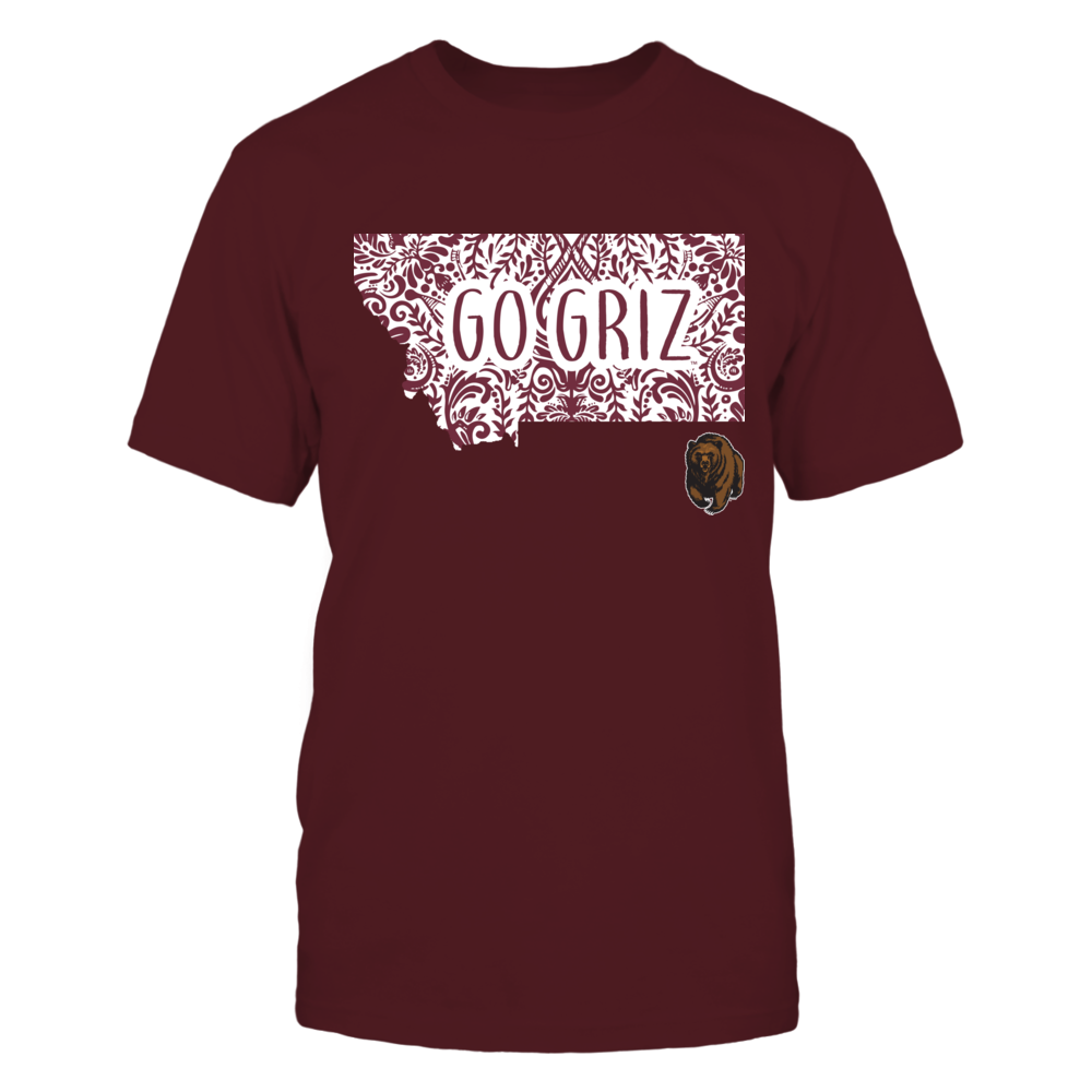 Montana Grizzlies - Slogan Inside State Map Front picture