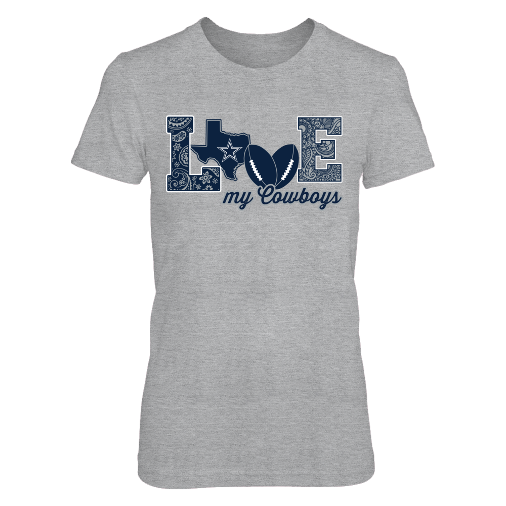 Dallas Cowboys - Love My Team - Football - Grey shirt Front picture
