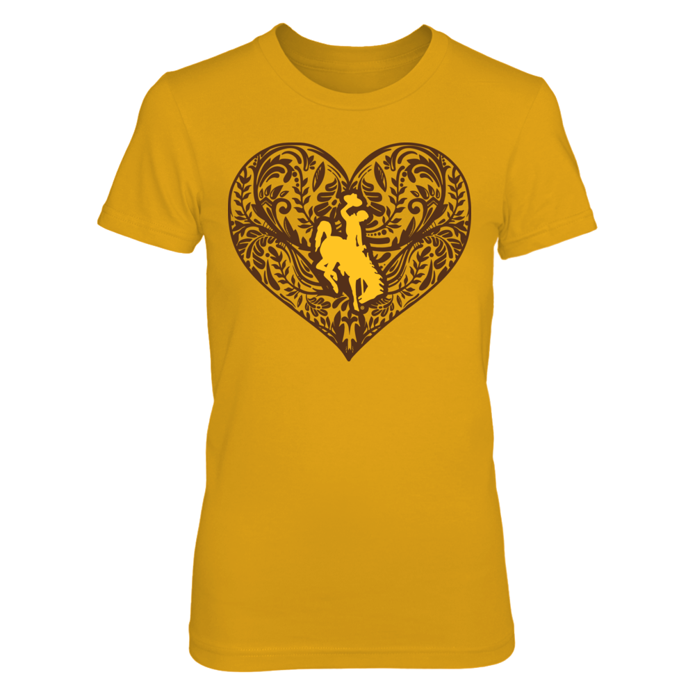 Wyoming Cowboys - Pattern Heart - Gold Shirt Front picture