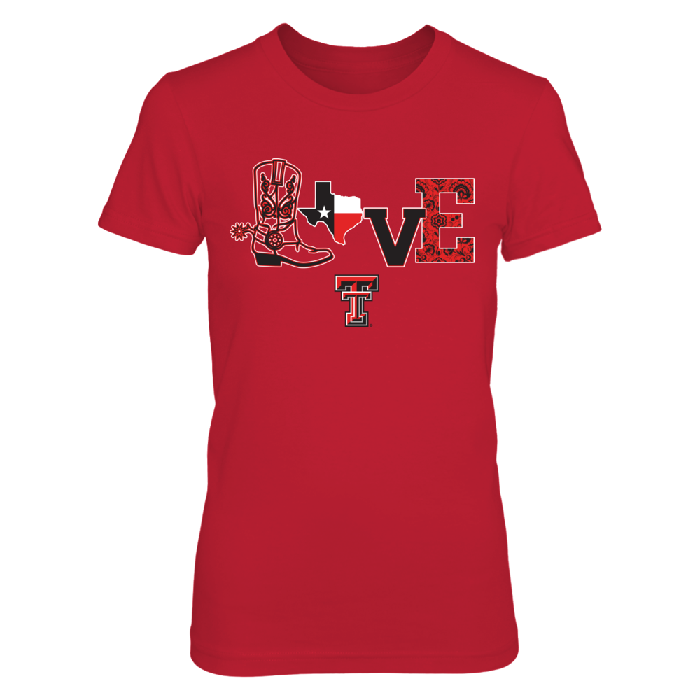 Texas Tech Red Raiders - Love Boots - Red shirt Front picture