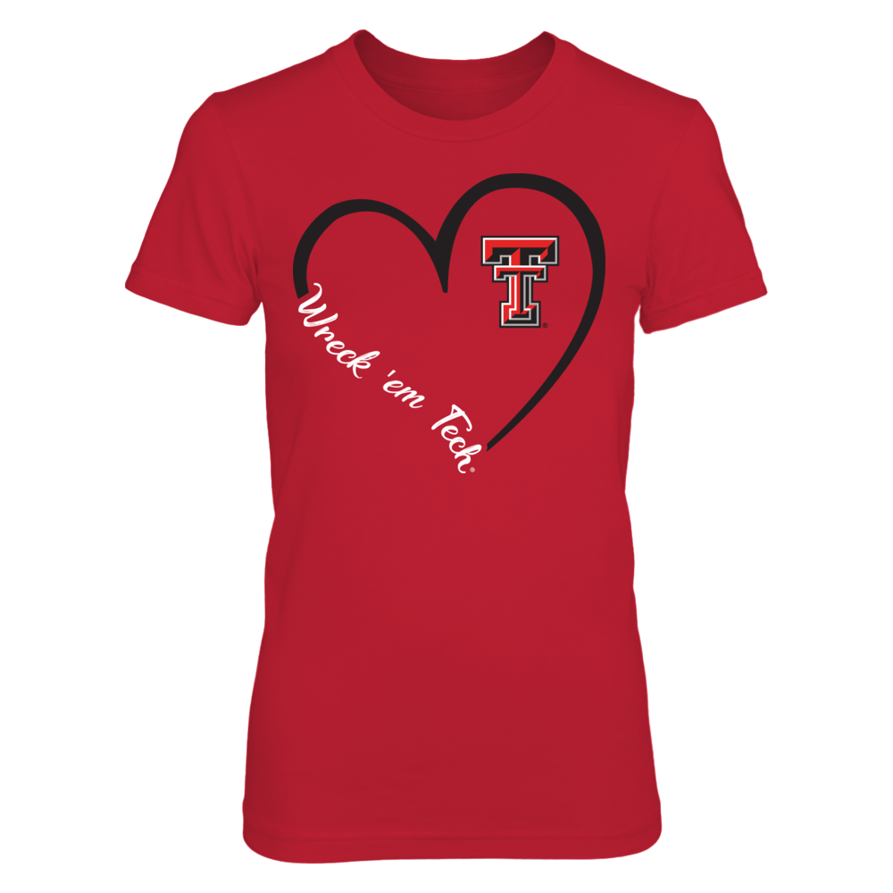 Texas Tech Red Raiders - Heart 3/4 - Red shirt Front picture