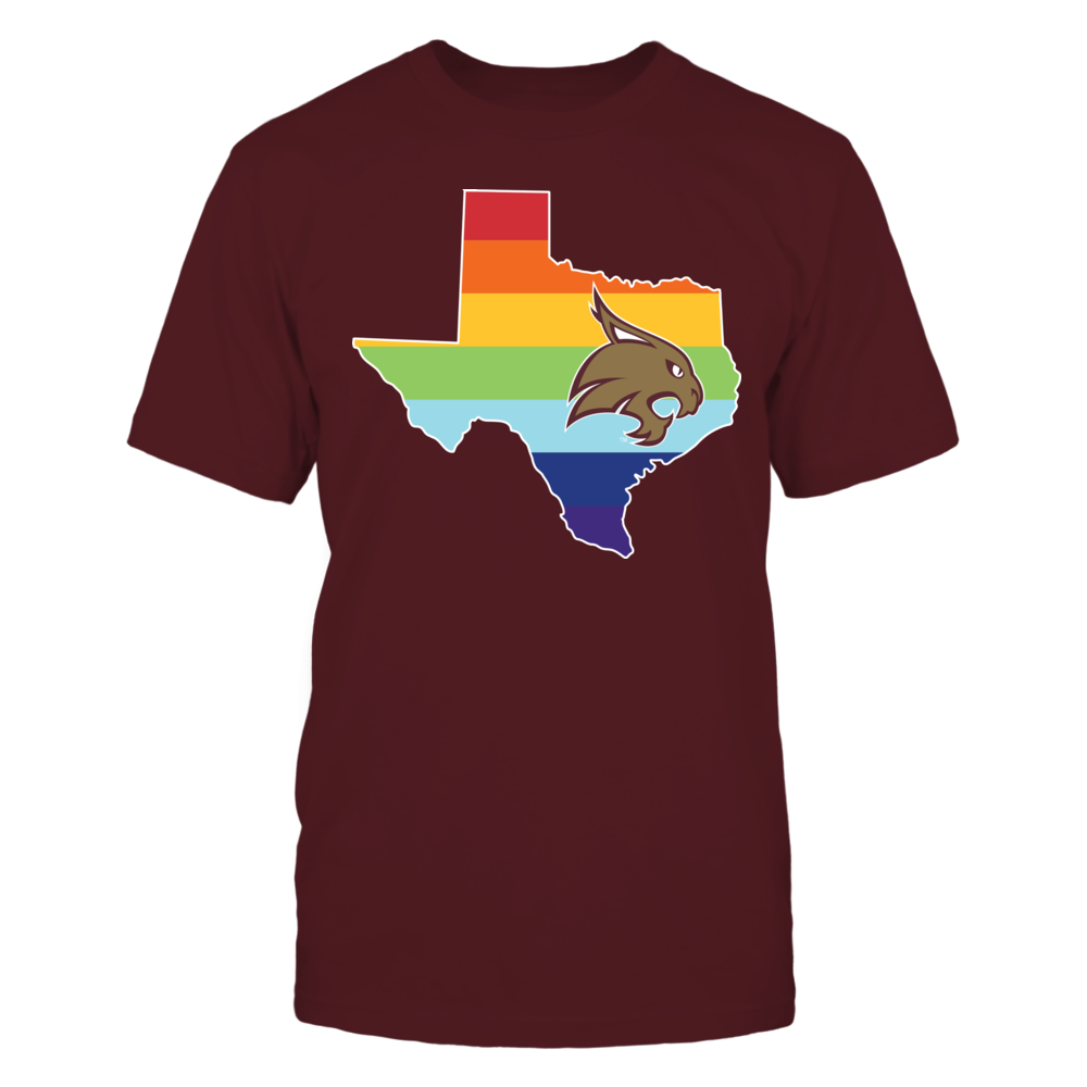 Pride Month Logo - Texas State Bobcats Front picture