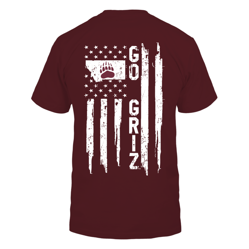 Montana Grizzlies - State Map - Nation Flag Back picture