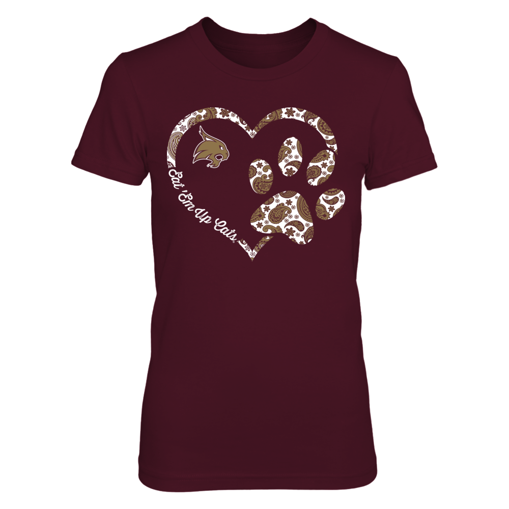 Texas State Bobcats - Heart paw - Paisley Front picture