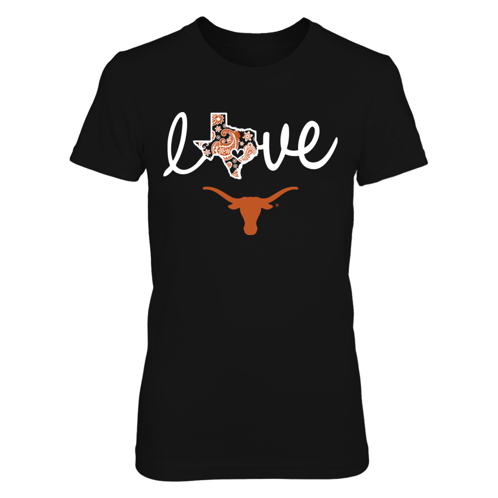 Texas Longhorns - State Love - Paisley Map Front picture