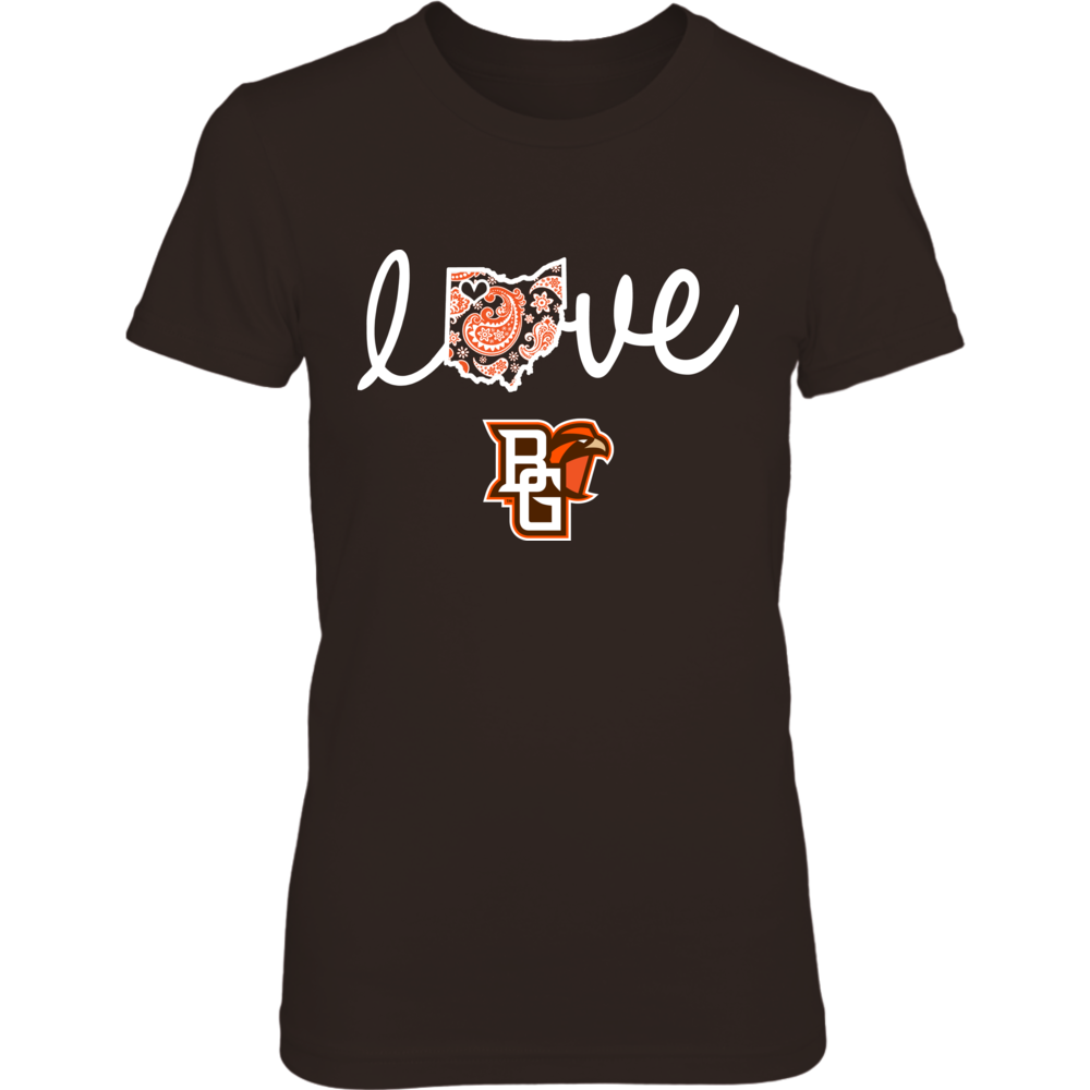 Bowling Green Falcons - State Love - Paisley Map Front picture