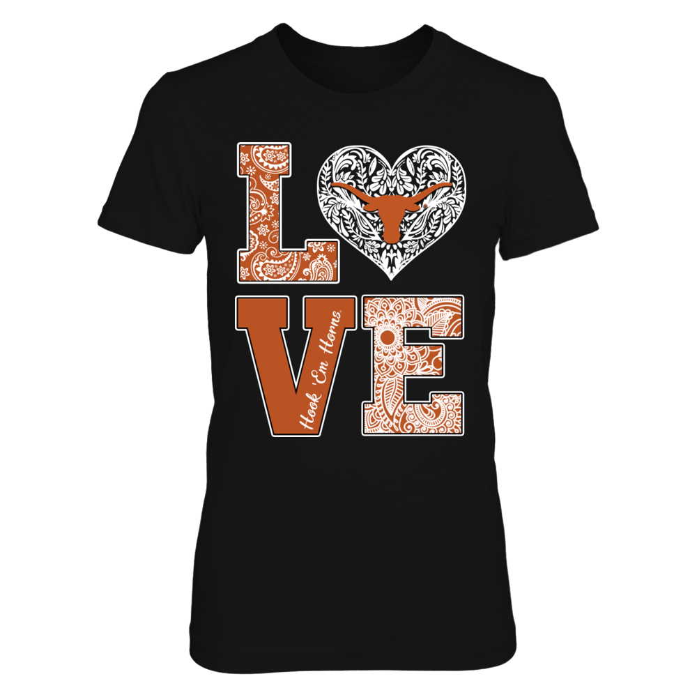 Texas Longhorns -  Stacked Love - Pattern Heart Logo Front picture