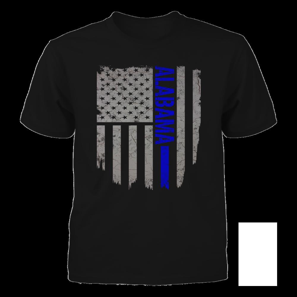 TShirt Hoodie Alabama Thin Blue Line American Flag T-Shirt FanPrint