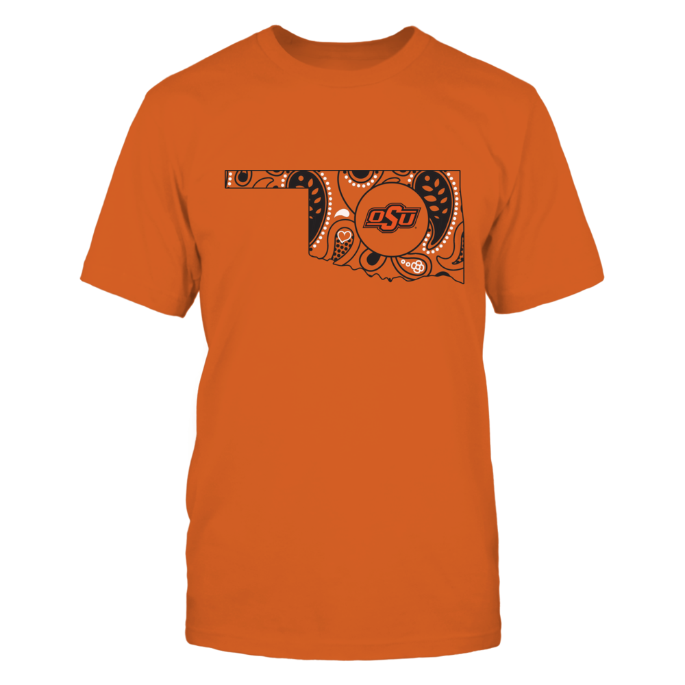 Oklahoma State Cowboys - Paisley Pattern State Map - Orange shirt Front picture