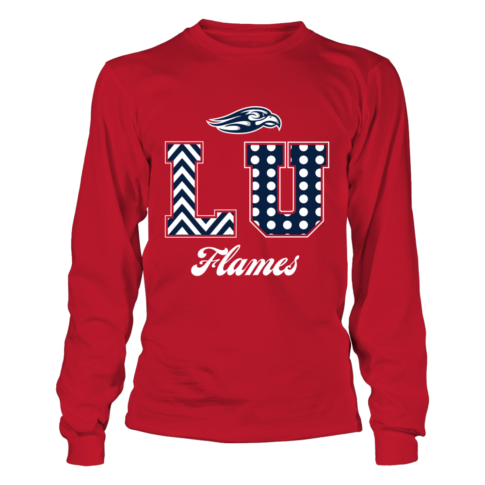 Liberty Flames -  Patterned Letters - Red shirt Front picture