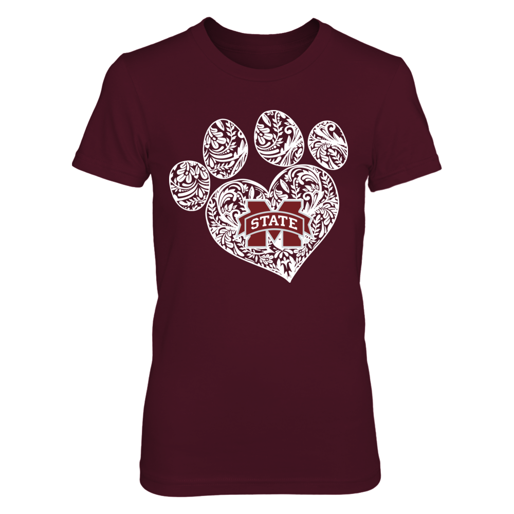 Mississippi State Bulldogs - Paw - Pattern Heart Front picture