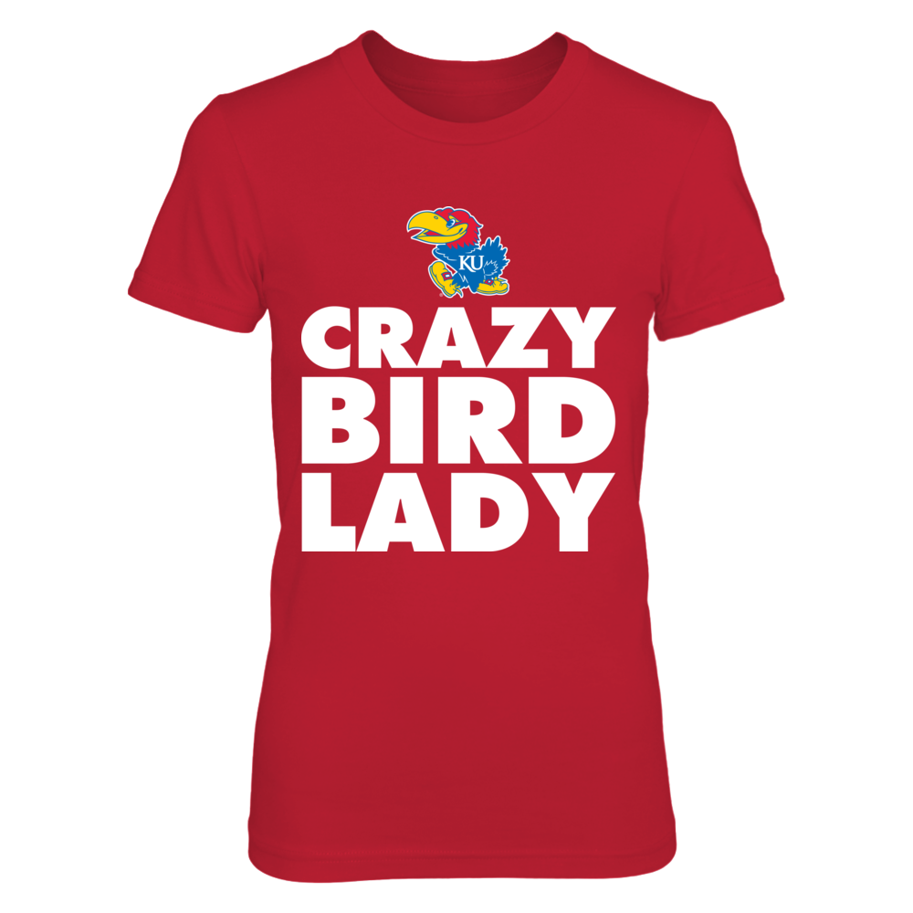 Kansas Jayhawks - Crazy Bird Lady - Red Shirt Front picture
