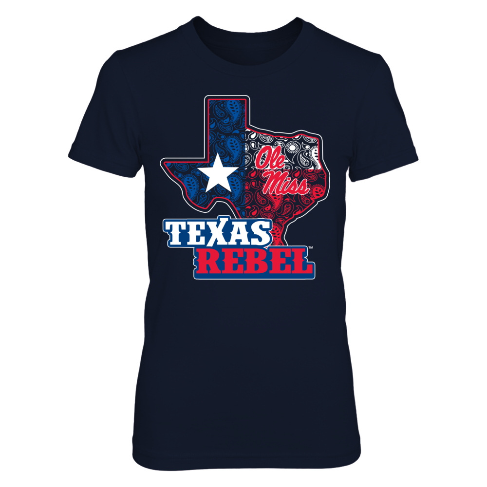Ole Miss Rebels -  Paisley Texas Map Mascot Front picture