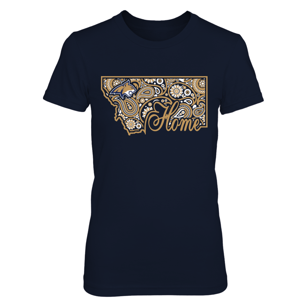 Montana State Bobcats -  Home in state outline paisley Front picture