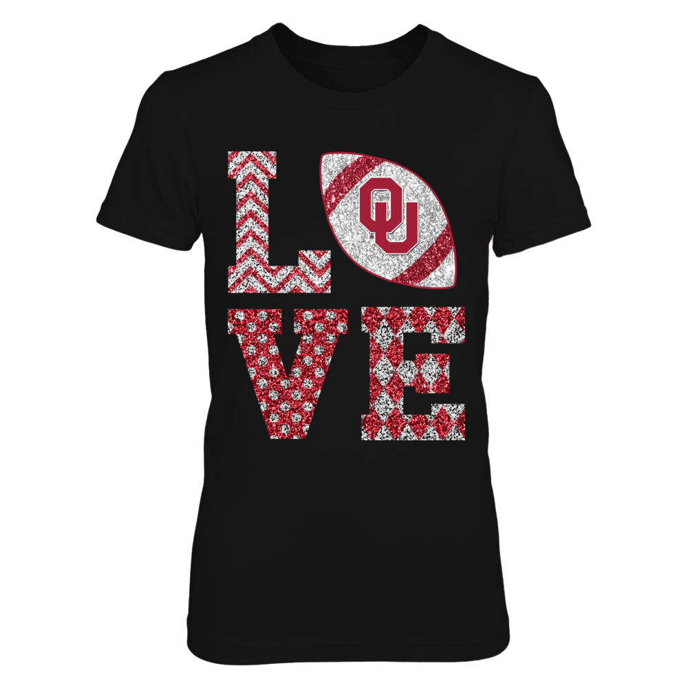 Oklahoma Sooners -  Stacked Love Football - Sparkle Pattern (Not Real Glitter) Front picture