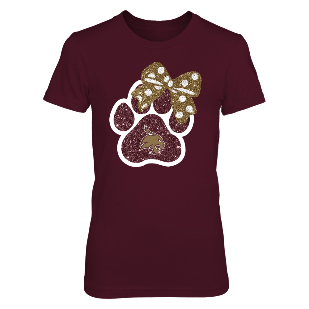 Texas State Bobcats - Paw - Bow Glitter (Not Real Glitter) Front picture