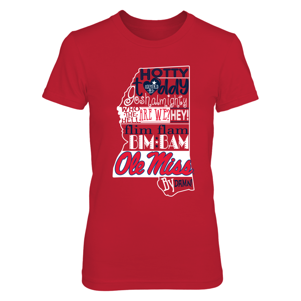 Ole Miss Rebels -   Fight Song Inside State Map - Red shirt Front picture