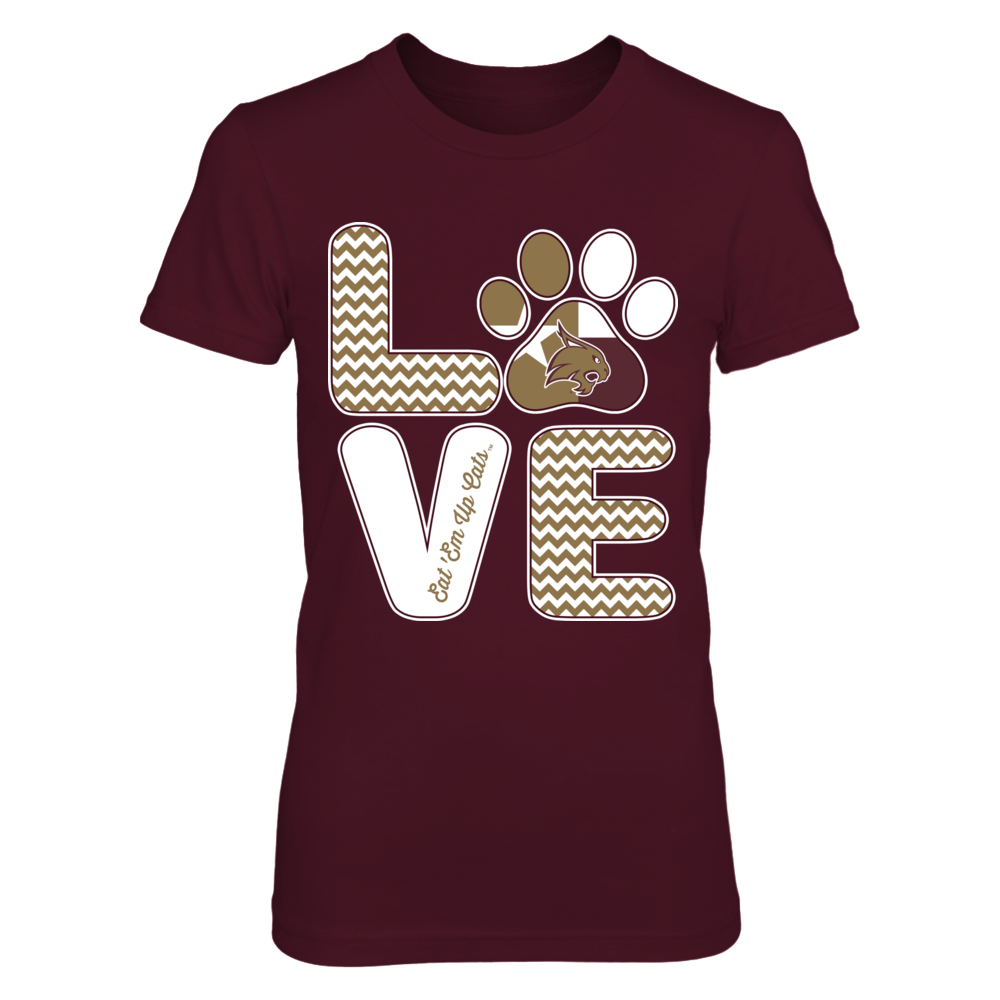 Texas State Bobcats - Love - Paw - State Flag Front picture