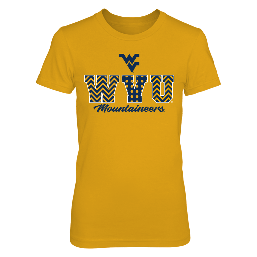 West Virginia Mountaineers - Patterned Letters - Gold Shirt - IF-IC13-DS75 Front picture