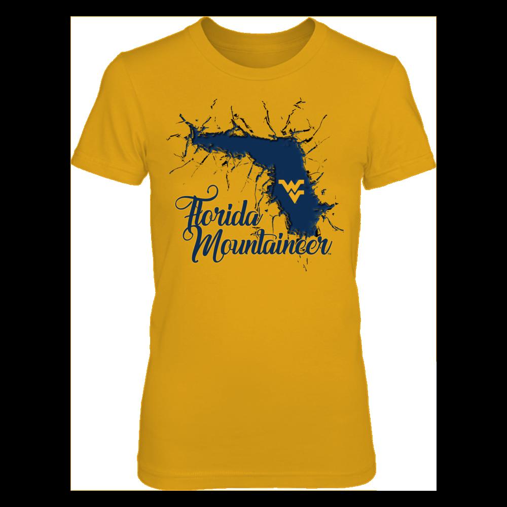 Basketball Flag Heart FanPrint West Virginia Mountaineers T-Shirt