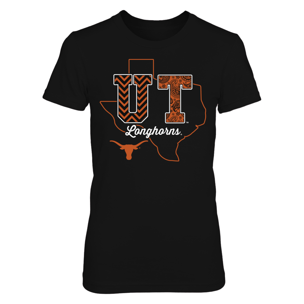 Texas Longhorns - Patterned Letters - State Outline Front picture