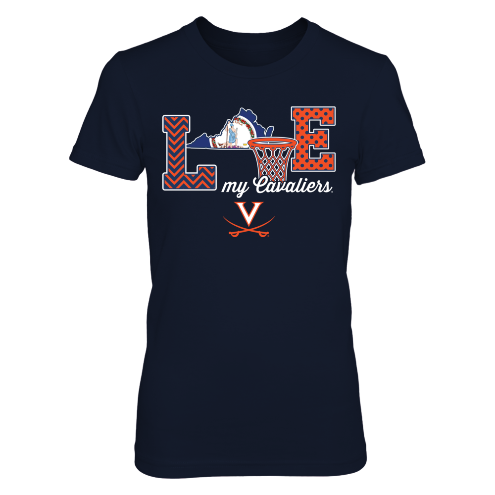 Virginia Cavaliers - Love My Team - Basketball - State Flag Front picture