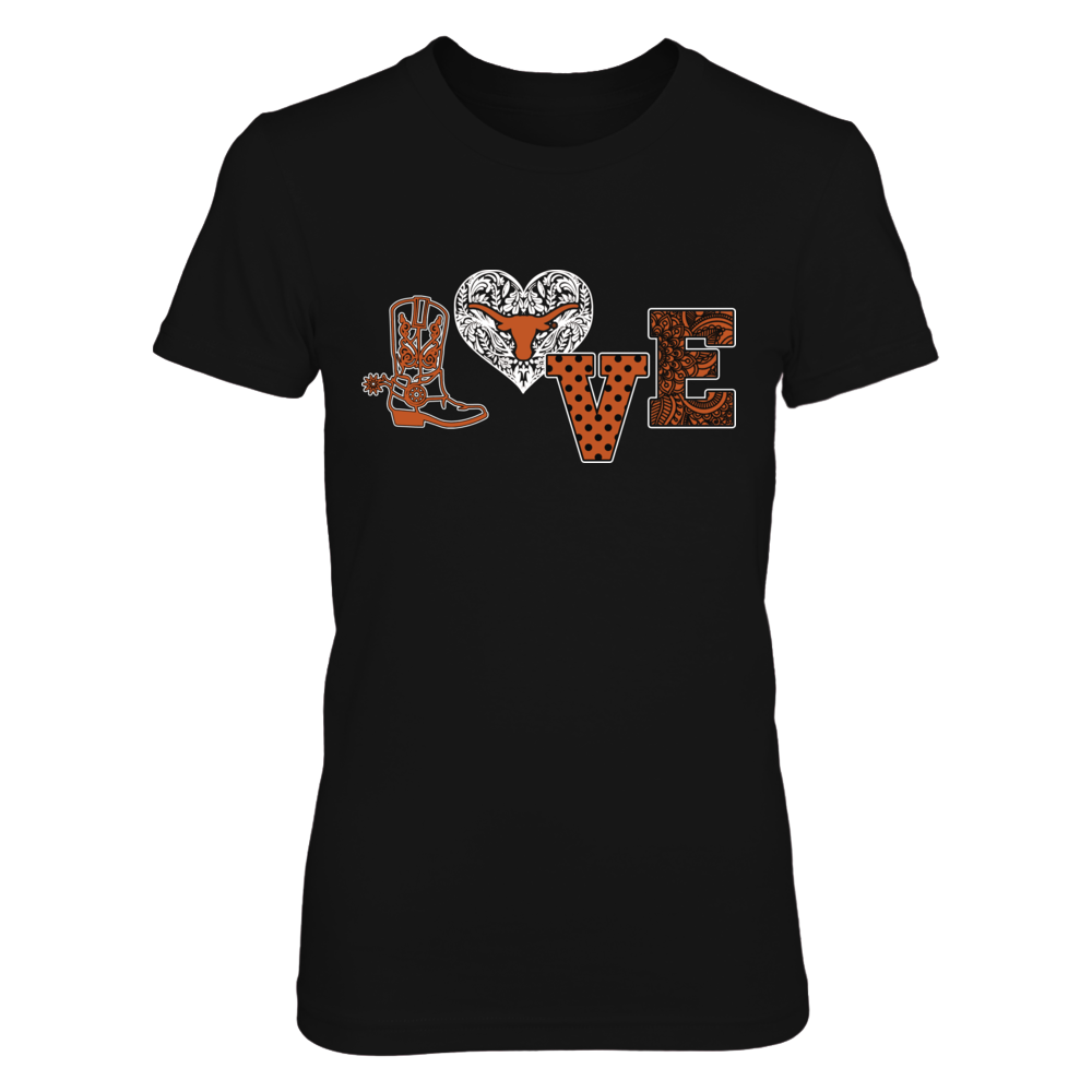Texas Longhorns - Love My Team - Boot Pattern Heart Front picture