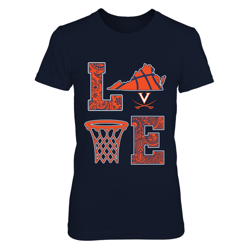 Virginia Cavaliers - Stacked Love - Basketball Pattern Front picture