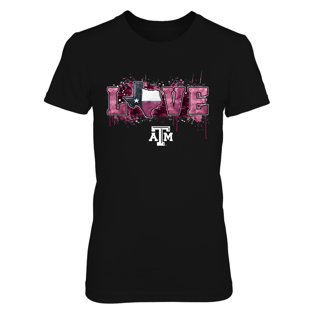 Texas A&M Aggies -  Love My Team - Color Drop State Map Front picture