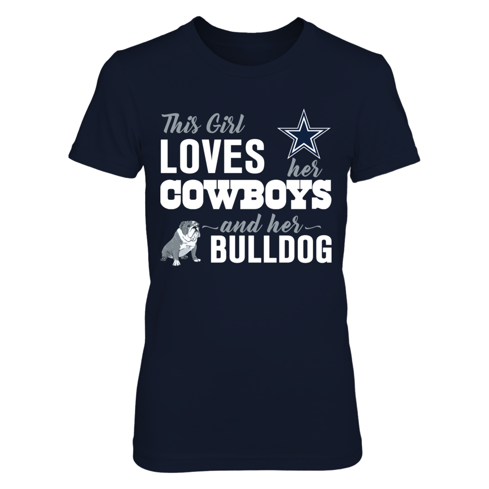 Dallas Cowboys - This Girl Loves Her Cowboys And Her Dog - Bulldog Front picture