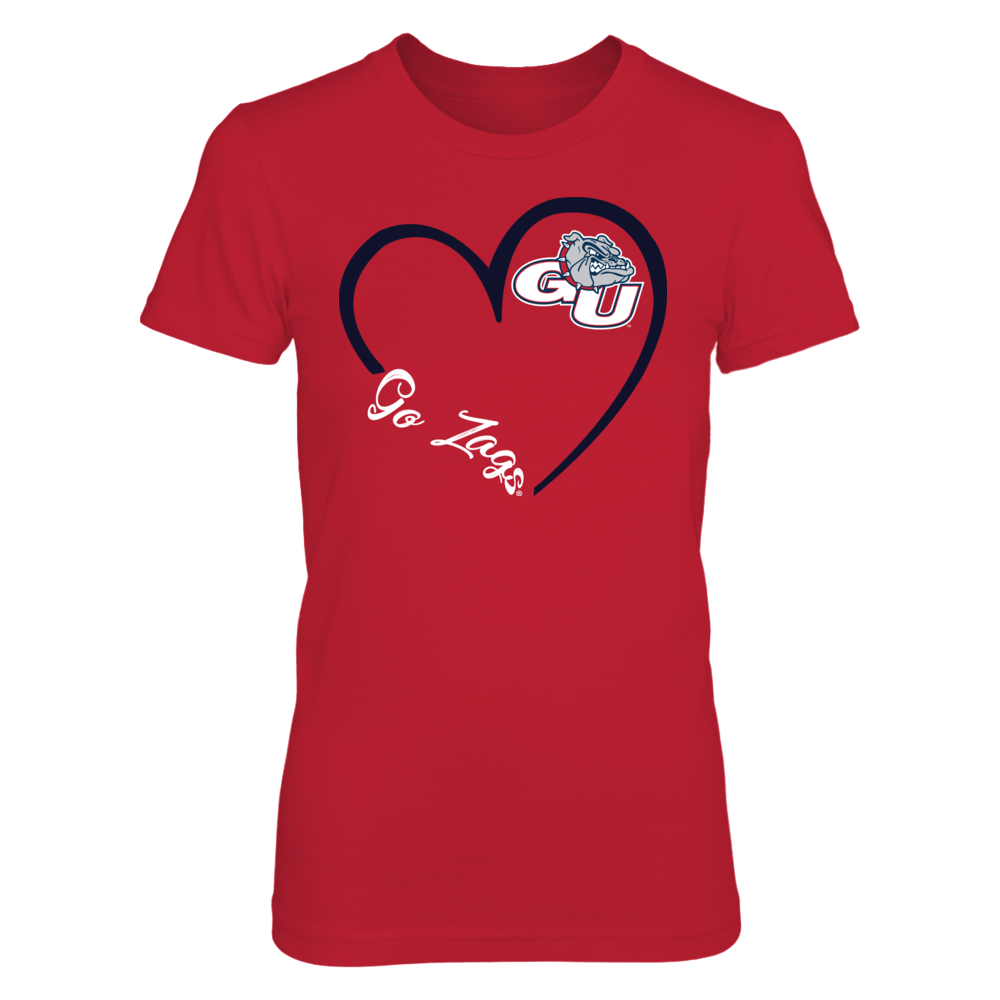 Gonzaga Bulldogs - Heart 3/4 - Red shirt Front picture