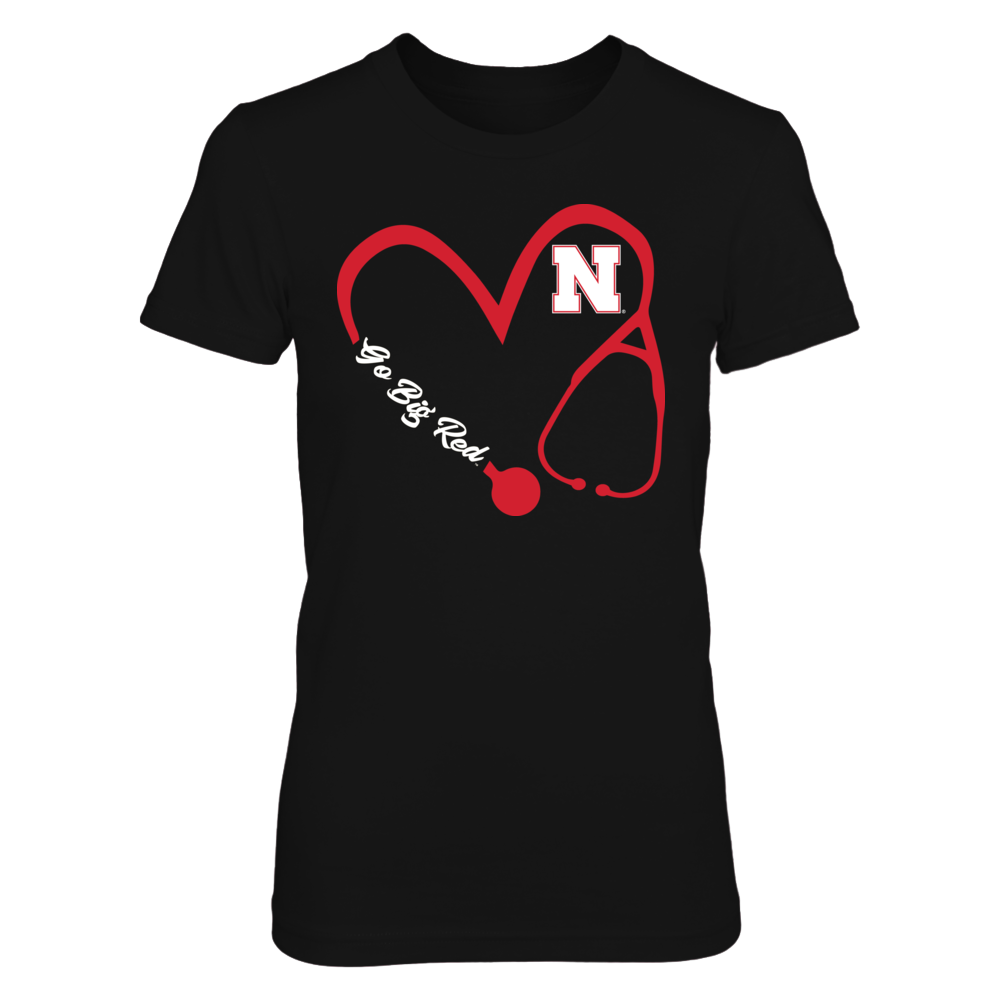 Nebraska Cornhuskers - Heart 3/4 - Nurse - Black Shirt  - IF-IC32-DS33 Front picture