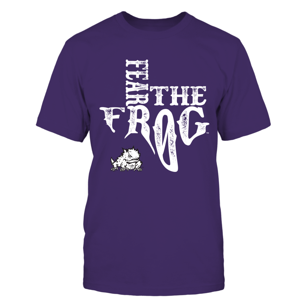 TCU Horned Frogs - Slogan inside state map Front picture