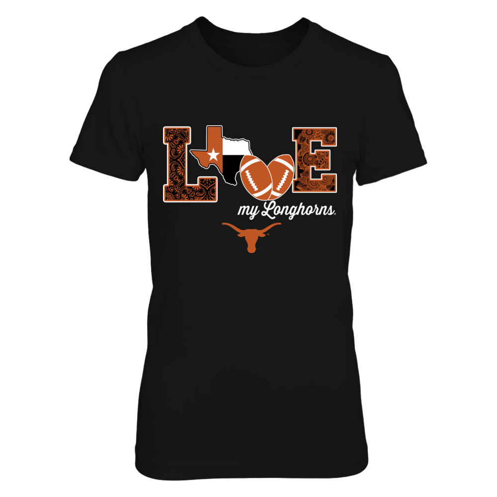 Texas Longhorns - Love My Team - Football - State Flag Front picture