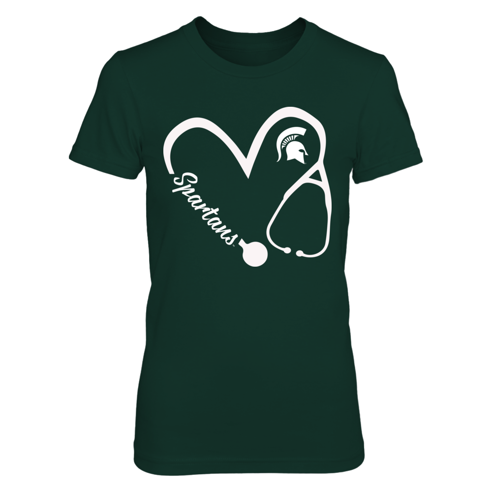 Michigan State Spartans - Heart 3/4 - Nurse - Team Name Front picture