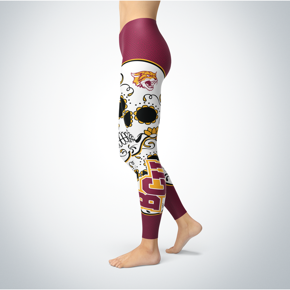Sugar Skull Leggings - Bethune Cookman Wildcats Front picture