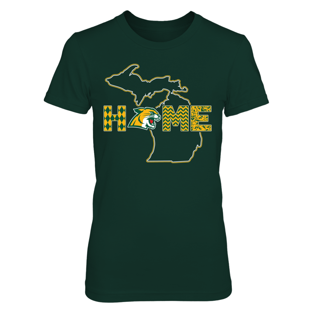Northern Michigan Wildcats - Pattern Home With Double State Outline Front picture