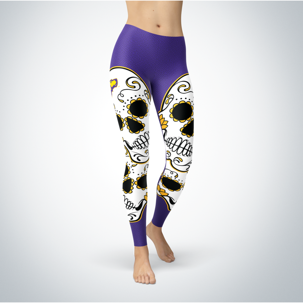 Sugar Skull Leggings - Wisconsin-Stevens Point Pointers Front picture