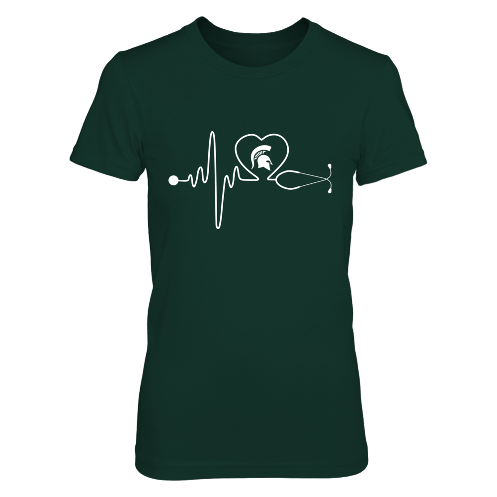Michigan State Spartans - Nurse - Stethoscope Heartbeat Front picture